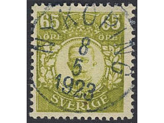 Sweden. Facit 93 used , 65 öre yellow-green. EXCELLENT cancellation NYKÖPING 8.5.1923. …