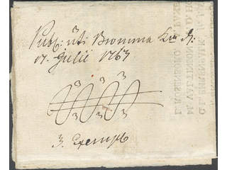 """Sweden. A county. Crown post. Notification with crown coil dated """"17 Julii 1763""""."""