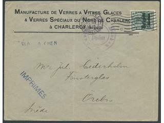 Germany Landespost in Belgium. Michel 2 cover , 1914 New value overprint 5 c / 5 pf …
