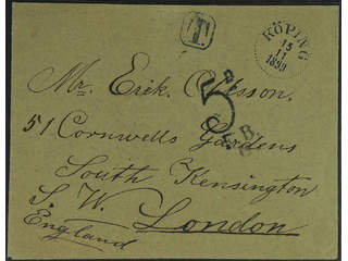 Sweden. Postage due mail. Unpaid cover sent from KÖPING 15.11.1899 to Great Britain. …
