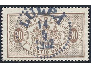 Sweden. Official Facit Tj21c used , 30 öre dull reddish brown, perf 13. EXCELLENT …