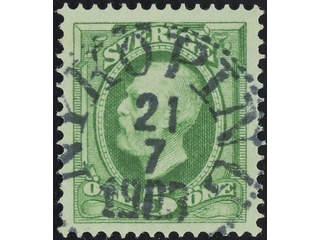 Sweden. Facit 52 used , 1891 Oscar II 5 öre green. EXCELLENT cancellation NYKÖPING …