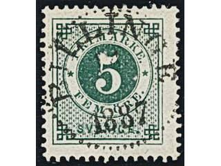 Sweden. Facit 43a used , 5 öre dull blue-green. EXCELLENT cancellation BILLINGE 1887.