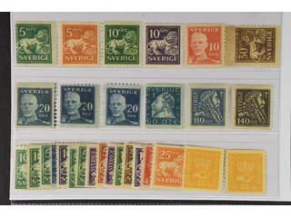 Sweden. ★ 1920–36. Small coilstamps. All different, e.g. F 140Acx, 141, 144Ccx, 145E, …