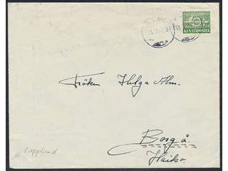 Finland. Field post stamp Facit 5 , 1944 Posthorn with sword, green, on cover sent from  …