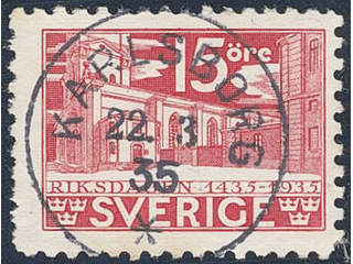 Sweden. Facit 242C used , 1935 500th Anniversary of the Parliament 15 öre red, perf on …