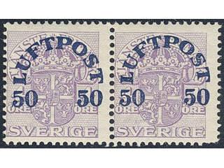 Sweden. Facit 138vm ★ , 1920 Air Mail Surcharge 50 öre / 4 öre violet, watermark crown …