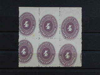 Mexico. Michel 150Ex ★★/★ , 1886 Numeral 4 c lilac perf 12 on white paper in block of 6. …