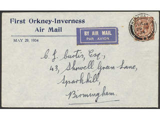 Britain. Air mail cover Michel 156 , 1924 King George V wmk Block Cypher 1½ d red-brown …