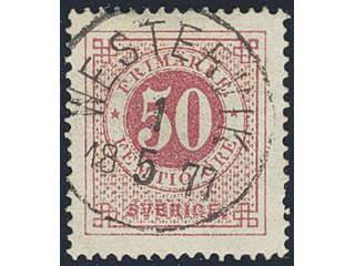 Sweden. Facit 26e used , 50 öre carmine. EXCELLENT cancellation WESTERVIK 1.5.1877. Two …