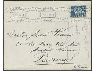 China Incoming mail. Michel 236 cover , Sweden. 25 öre on cover sent from STOCKHOLM …