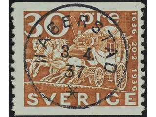 Sweden. Facit 251 used , 1936 Tercentenary of the Post Office 30 öre brown. EXCELLENT …
