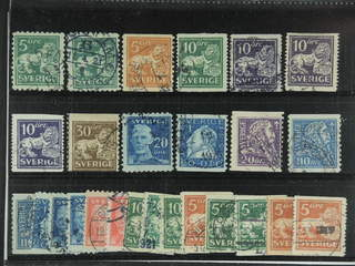 Sweden. Used 1920-34. Small coilstamps, All different, e.g. F 140C+Ccx, 141bz, …