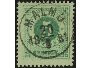 Sweden. Facit 30j used , 5 öre yellowish green. EXCELLENT cancellation MALMÖ 20.8.1884.