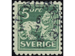 Sweden. Facit 143Cb used , 5 öre dull dark green, clear print, type II, perf on four …