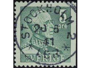 Sweden. Facit 271B used , 1946 Gustaf V large numerals 5 öre green, perf at three sides. …