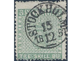 Sweden. Facit 1b used , 3 skill bluish green. Fine copy with superb cancellation …