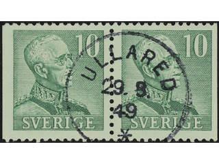 Sweden. Facit 274BB used , 1948 Gustaf V large numerals 10 öre green, pair. EXCELLENT …