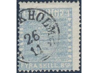 Sweden. Facit 2k1 used , 4 skill greenish light dull blue, medium-thick paper. Fine copy …