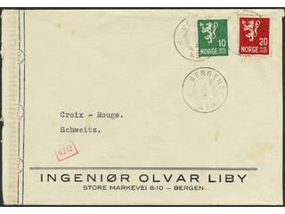 Denmark. Facit 213, 216 cover , 10+20 øre on cover cancelled BERGENSBANEN 7.VII.44, sent …