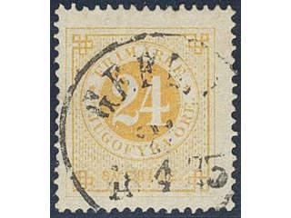 Sweden. Facit 24e used , 24 öre orange-yellow on yellowish plain paper. Superb …