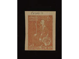 Georgia. Michel 8B used , 1920 3 R dull ultramarine with a 2R stamp printed on back side …