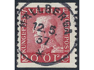 Sweden. Facit 180b used , 20 öre pale red, on white paper. EXCELLENT cancellation …