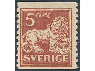 Sweden. Facit 142Acxz ★★ , 5 öre brown-red, type II wmk lines + KPV.