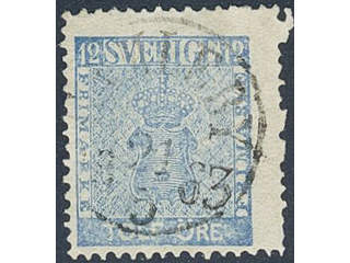 Sweden. Facit 9d2 used , 12 öre light blue. EXCELLENT cancellation GAMLEBY 21.5.1863. …