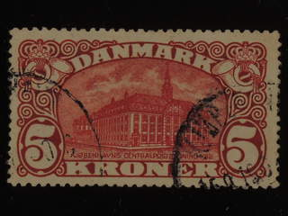 Denmark. Facit 121 used , 1915 Posthuset 5 Kr brunröd, vm kors. SEK1400