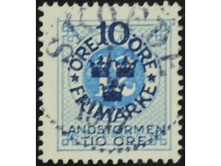 Sweden. Facit 110 used , 1916 Landstorm I 10+TIO / 12 öre  blue. EXCELLENT cancellation …