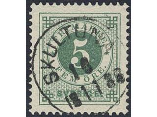 Sweden. Facit 30 used , 5 öre green. Superb/EXCELLENT cancellation SKULTUNA 15.11.1886.