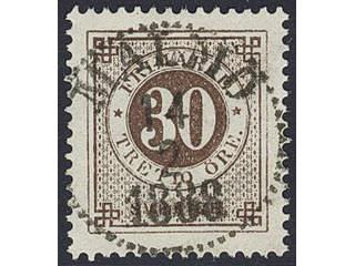 Sweden. Facit 47d used , 30 öre grey-brown. EXCELLENT cancellation MALMÖ 14.2.1888.