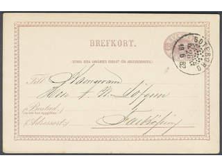 Sweden. Facit bKe6, O county. GÖTEBORG 26.6.1882. Beehive pmk on postcard sent to …