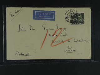 Sweden. Air mail cover Facit 253 , 40 öre, single usage, on air mail cover sent from …