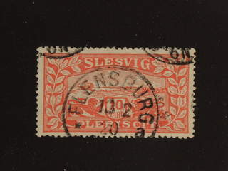 Denmark Schleswig. Facit 14 III used , 1920 Lion and Landscape 10 Mark red with white …