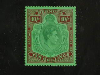 Bermuda. Michel 114a ★ , 1938 George VI 10 Sh green and deep lake on pale emerald paper. …
