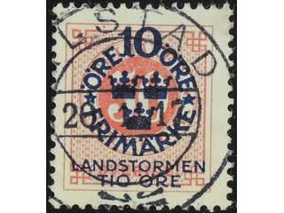 Sweden. Facit 114 used , 1916 Landstorm I 10+TIO / 50 öre  carmine. EXCELLENT …