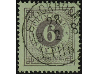 Sweden. Facit 31g used , 6 öre bluish lilac on white paper. EXCELLENT cancellation …