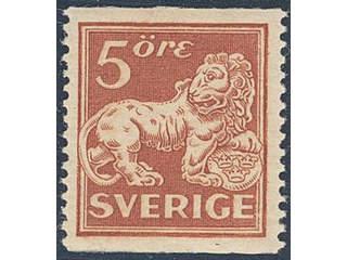 Sweden. Facit 142Ecxz ★★ , 5 öre brown-red, type II, perf 13 with watermark lines + KPV. …