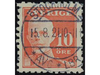 Sweden. Facit 149C used , 1920 Gustaf V full face 10 öre red, perf on four sides. …