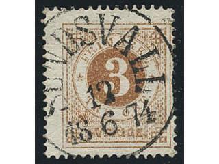 Sweden. Facit 17 used , 3 öre brown. EXCELLENT cancellation SUNDSVALL 12.6.1874. One …