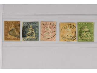 Switzerland. Used 1854–59. All different, Mi 13-17 II. Mi € 240 (5)