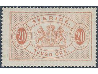 Sweden. Official Facit Tj6a ★ , 20 öre deep orange-red, perf 14. Superb copy according …