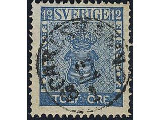 Sweden. Facit 9c1 used , 12 öre blue. EXCELLENT cancellation CARLSHAMN 12.1.1860.