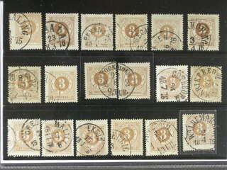 Sweden. Facit 17 used , 3 öre brown, eighteen used copies. Shades, varieties, …