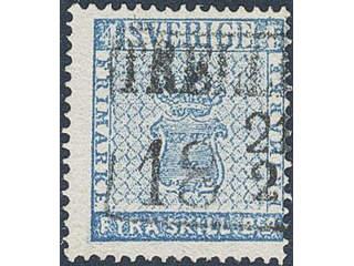 Sweden. Facit 2e, M county. TRELLEBORG 21.2.185x, rectangular postmark. Postal:3000:-