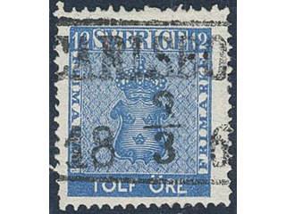 Sweden. Facit 9c1 used , 12 öre blue. EXCELLENT cancellatin CARLSBORG 3.3.186x.