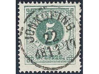Sweden. Facit 19f used , 5 öre dark green, grainy print. EXCELLENT cancellation …