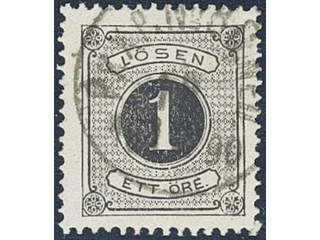 Sweden. Postage due Facit L11a1 used , 1 öre black, perf 13. Superb cancellation PKXP No …
